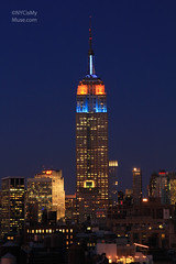 Empire State Building in Blue & Orange in memory of NY Mets fallen hero Gary Carter (NYCisMyMuse) Tags: nyc newyorkcity blue orange newyork skyline architecture manhattan empirestatebuilding artdeco mets 30rock nymets garycarter nycismymuse blueorangeblue