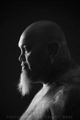 . (Ashley Daws) Tags: portrait bw white man black male beard gangster maori tatto goatie