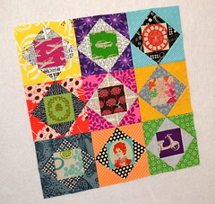 i'm a wanna be today!  ;D (.House. of A La Mode) Tags: quilt pillow block paperpieced kokka echino fussycut melodymiller