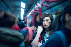 A Coward's Photography II: Some Thoughts on My Work (TGKW) Tags: portrait people girl hair underground subway hongkong holding wind metro bokeh sister tube pole annie mtr 5387