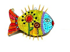 fish wall hanging (**mira pinki krispil-colors of life ***) Tags: sculpture art animal cat handmade fimo clay pinki polymer        mirakris