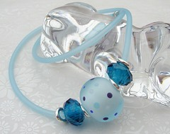 Ice Blue Jelly Necklace (Glittering Prize - Trudi) Tags: blue etched glass matt fun necklace crystal funky jelly lampwork pvc dotty frosted brigh