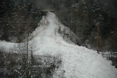 The Road Disapears in Seconds (TranBC) Tags: photo bc britishcolumbia boathouse bellacoola 2012 cariboo avalanche roadclosure hwy20 bchwy20 tranbc ministryoftransportationandinfrastructure southerninteriorregion