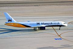 """Monarch Ninety Nine Forty"" - McCarran Int'l Airport, NV  USA (gTarded) Tags: las airport lasvegas taxi 11 spot monarch mon boeing klas 757 charter mccarran b757 michelintires gdajb"