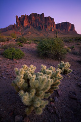 Superstition Mountain Twilight (Erik Page Photography) Tags: park pink blue sunset red arizona cactus mountain nature beautiful beauty canon landscape lost twilight focus colorful angle natural state wide sigma right stack sharp lee stuff really superstition tiffen rrs dutchman feisol