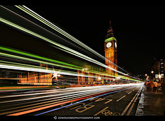 Light Trails to Westminster (Edwinjones) Tags: uk longexposure bridge light england london tower clock lamp westminster thames night river dark cityscape capital housesofparliament parliament bigben palace nighttime gb lighttrails riverthames lambeth westminsterbridge palaceofwestminster traffictrails