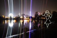 Spectrum (All In Camera Winter Wonderland Light Painting), London Hyde Park (flatworldsedge) Tags: park christmas light lake lightpainting girl wheel painting geese long exposure dress spin trails experiment ferris hyde swans pinup uploaded:by=flickrmobile flickriosapp:filter=nofilter