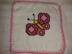 Fralda de Boca - Borboleta F006 (SaluArts) Tags: de pano cruz infantil bebê boca ponto paninho fralda fraldinha enxoval