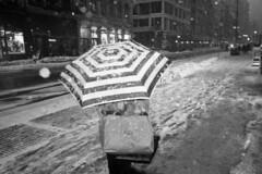 (David Chee) Tags: street nyc blackandwhite bw snow newyork film analog umbrella kodak flash trix soho broadway hc110 processing push 800 ricoh gr1 gr1v