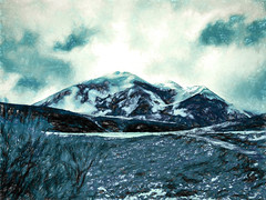 In the Mountains (Steve Taylor (Photography)) Tags: blue newzealand cloud white mountain snow black art texture weather digital canterbury nz southisland southernalps monocolor monocolour