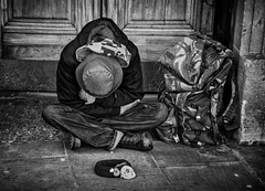 street portrait of a homeless man sleeping (Daz Smith) Tags: city uk sleeping portrait people urban blackandwhite bw man streets blancoynegro monochrome canon blackwhite bath candid homeless citylife thecity streetphotography asleep canon6d dazsmith bathstreetphotography