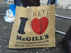 It Seems That McGills Buses Don't Impress Everyone! (Dave Forbes Images) Tags: hearts heart protest hate bags brokenheart shoppingbags badservice mcgillsbuses