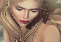 Miranda~Above the world -lil zoom (Skip Staheli (Clientlist closed)) Tags: closeup tears sad emotion avatar digitalpainting secondlife blonde dreamy feelings closedeyes virtualworld skipstaheli mirandabrinner