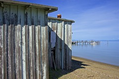 Weathered Building On San Pablo Bay ... (sswj) Tags: california shadow texture beach northerncalifornia architecture composition pier nikon availablelight naturallight marincounty weathered existinglight fullframe dslr sanrafael weatheredwood oldbuilding chinacamp scottjohnson sanpablobay d600 weatheredpaint weatheredbuilding onthebay woodbuilding nikkor28300mm