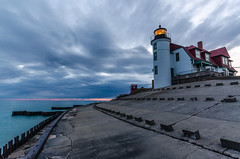 Nautical Twilight (Aaron Springer) Tags: cloud lighthouse nature water architecture landscape spring twilight outdoor michigan lakemichigan maritime nautical southmanitouisland pointbetsie northernmichigan thegreatlakes pointbetsielight undulatusasperatus