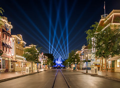 Main Street at closing time (brosephotoz) Tags: longexposure night disneyland hdr spotlights mainstreetusa sleepingbeautycastle diamondcelebration disneyland60