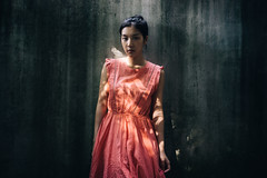 (I C E I N N) Tags: pink light shadow portrait people stain girl wall contrast 35mm asian concrete moody dress photoshoot outdoor sony peach e fe   gaze f28 jaz  carlzeiss emount sonnartfe2835 femount sonya7ii ilce7m2