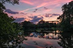 Train Trestle...Flemington, NJ (calba) Tags: trestle bridge sunset sky reflection water reflections river landscape newjersey twilight nikon nj pinksky flemington traintrestle flemingtonnewjersey flemingtonnj nikon2470mmf28g njlandscape cathyalbaphotography cathyalba nikond750