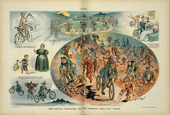 1897. Some popular conceptions that the wheeling mania will change (foot-passenger) Tags: puck americanmagazine американскийжурнал иллюстрированныйжурнал 1897 историявелосипеда карикатура caricature loc libraryofcongress библиотекаконгресса