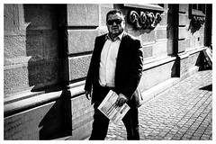 (QPaz) Tags: street city people blackandwhite man monochrome walking schweiz switzerland blackwhite fuji walk zurich streetphotography zrich schwarzweiss xf27 qpaz