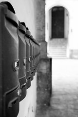 Post boxes (Norbert Eder) Tags: street city italien blackandwhite white black monochrome streetphotography it postbox sicily letterbox catania sicilia sizilien