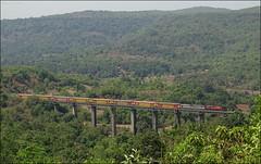 Kalyan WDG3A locomotive with Madgaon Mumbai Double Decker Express at Chindravali Viaduct (Omkar Sawant) Tags: indian railway double viaduct kalyan mumbai railways decker konkan madgaon wdg3a chindravali