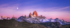 A Dawning Awareness (Tim Poulton) Tags: sunset moon mountains argentina sunrise landscape panoramic cerrotorre mtfitzroy