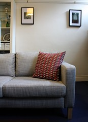 New cushion for a new sofa (marmalade eagle) Tags: vintage handmade retro sofa karlstad fabric cushion