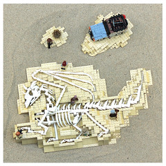 Discovering the Dragon (Carson Hart) Tags: camera coral carson dead skeleton photography fossil skull workers bush sand dragon desert lego jeep contest wing tan ground lizard safari hart geology winged diorama wrangler siercon