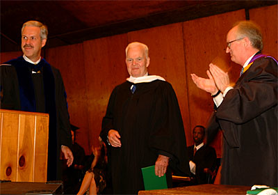 Former Vermont Senator Bob Gannett Receives an Honorary Degree from Marlboro President Paul LeBlanc and Chairman of the Board of Trustees Ted Wendell