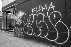 Rusle, Kuma, Kwote, Take7 (and a crossed out Gusto) (mikeion) Tags: nyc newyorkcity ny newyork graffiti blackwhite manhattan beef tag tags outline hollow throw kuma crossedout take7 kwote rusle gustobtm