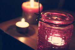 {247} Candlelight. (Style Crush xoxo) Tags: wood pink glass fire three candles candle flame tealight project3