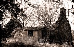 open door (prajpix) Tags: trees chimney blackandwhite house rot home monochrome stone photoshop mono scotland decay cottage ruin croft rotten wreck tumbledown inverness roofless dwelling undergrowth hghlands