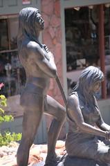 Susan Kliewer (19xx - ) The Sinagua (1993), Sinagua Plaza, Sedona, Arizona - above right (ketrin1407) Tags: arizona sculpture fountain statue bronze nude sedona nativeamerican loincloth sinagua kliewer