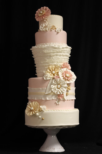 Fabric Ruffles and Flowers Wedding Cake