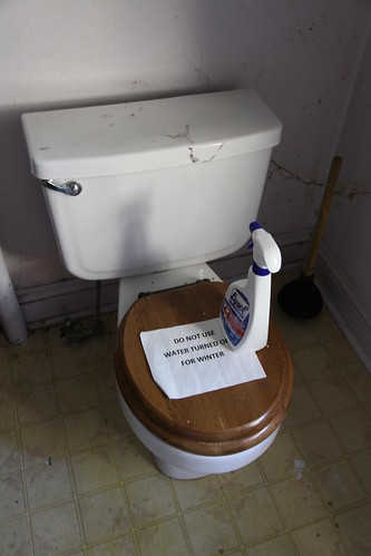 Toilet with Do Not Use sign