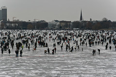 Hamburgers on the ice (Vahancho) Tags: winter ice germany frozen hamburg alster elbe