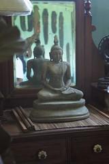 Buddha in the Mirror (this is emily) Tags: mirror buddha sri lanka antiques srilanka dresser kandy pilimathalawa