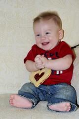 My FunNy Valentine (Susan K Shoots Nikon) Tags: people baby nikon cookie heart valentine susankopchinsky