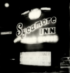 Sycamore Inn (tobysx70) Tags: california road bear ca street toby bw white house black slr sign sepia bar night silver project polaroid prime restaurant hotel inn san neon boulevard nocturnal uv famous ace 66 since illuminated route tip sycamore steak shade 600 lit ine hancock edition slr680 rt hospitality blvd steakhouse rte rancho 1848 680 impossible gulch foothill the bernadino px cucamonga silvershade theimpossibleproject px600uv tobyhancock impossaroid