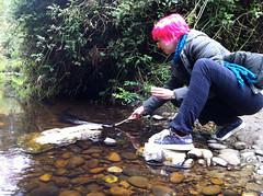 Erin feeds an eel