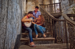 Friends (Shabbir Ferdous) Tags: old girls friends light red portrait music house playing color colour female stairs happy photographer slow legs guitar jeans villa shutter cheerful hdr shabbirferdous canoneos1dmarkiv ef1635mm28liiusm wwwshabbirferdouscom shabbirferdouscom