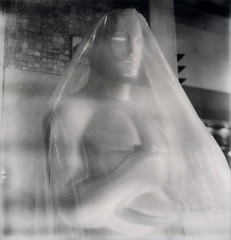 Wrapped In Plastic 2 (tobysx70) Tags: california ca red toby bw test white black film silver project polaroid carpet sx70 gold golden la los oscar boulevard theatre angeles kodak wrapped center plastic highland tip shade hollywood 100 awards sonar hancock avenue academy blvd oscars statuette 84th impossible on the in px sx70sonar silvershade theimpossibleproject px100testfilm tobyhancock impossaroid