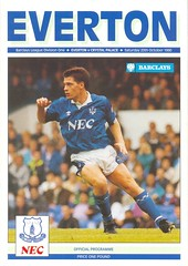 Everton v Crystal Palace 1990-91 (Bob Latchford) Tags: one october crystal palace 20 division nineties 1990s 1990 league 90s versus barclays programme everton