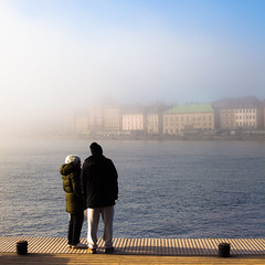 Sunday (Hannes R) Tags: city morning people mist lake water fog skyline dawn pier town sweden stockholm gamlastan oldtown skeppsholmen strmmen stockholmsstrm