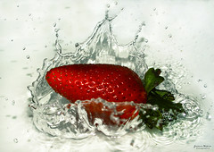 Strawberry splash [Explore] (Yavanna Warman {off}) Tags: red food water fruit droplets drops rojo strawberry agua comida drop fresh fruta gotas splash fresco freshness gotitas fresas fresones alimentos frescura