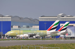 J.L. LAGARDERE 'general test' stands 'A15' & 'A19' 28/03/2012. (A380spotter) Tags: uae airbus a380 ek toulouse 800 blagnac tls  flightline a19 a15 emiratesairline lfbo fwwsd jllagardere fwwsi aroconstellation standa19 standa15 msn0107 a6edz msn0108 a6eea