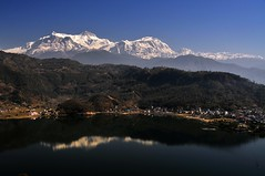 The Himalayas Annapurna Range (Melinda ^..^) Tags: fewalake pokhara nepal  sky scenic color colorful blue hbm chanmelmel mel melinda snow mountains himalayas annarpurna nature reflection water lake fewa