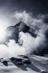Snow, Steam, Rock (peterderooij) Tags: bw mountain snow japan clouds landscape asia kanagawa hakone honshu  kantoregi
