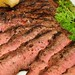 Mmm... grilled flat iron steak with cracked black peppercorns